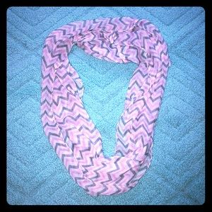 Grey and Pink Chevron Infinity Scarf